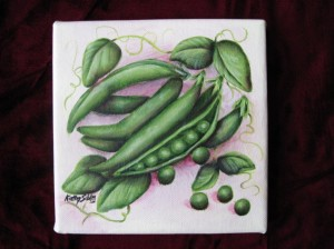 Original painting of Peas by Kathy Sibley