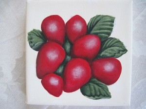 Unfinished painting of strawberries