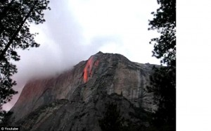 Youtube photo clip courtesty of   UK Daily Mail of Yosemite waterfall