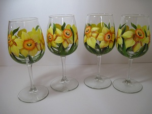 Daffodil wine glasses