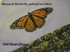 Monarch painting on fabric