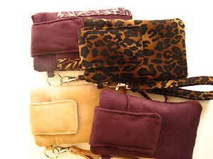 suede and suede cloth smartphone wristlets