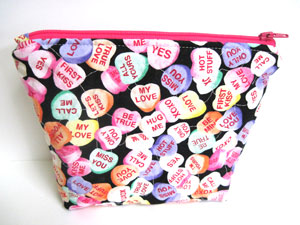 Conversation Hearts Cosmetic Bag