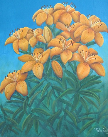 Orange Patio  Lilies painting