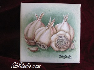 SibStudio.com painting of garlic. Can be found on Etsy.com