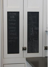 Chalk board paint on door panels